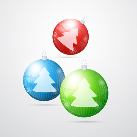 blue, red, green christmas balls isolated on white background  Vector