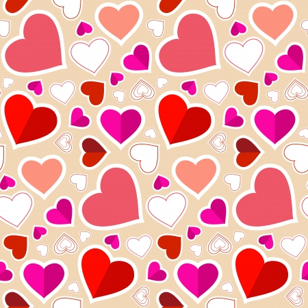 Seamless Retro Heart Background  Vector