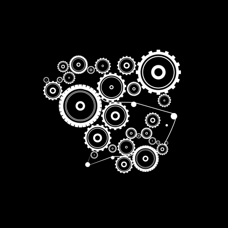 abstract vector cogs, gears on black background  Vector