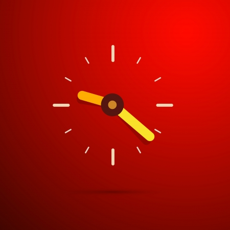 working hour: vector 3d clock on red abstract background
