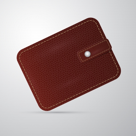 billfold: vector brown leather wallet, billfold