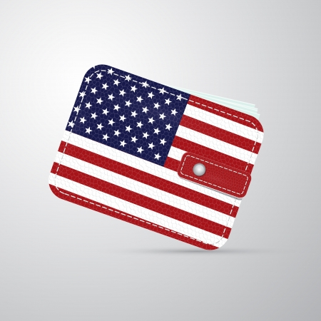 billfold: vector american flag leather wallet, billfold  Illustration