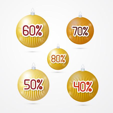gold discount, sale christmas balls  Vector