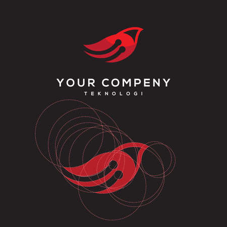 bird with a network symbol for a technology company. Vector icon illustration inspiration