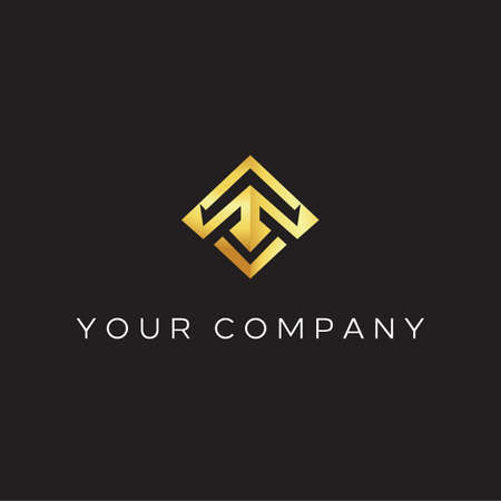 Geometric Logo style with T forming Arrow. simple, elegant, luxury, sophisticated and powerful vector icon illustration inspiration