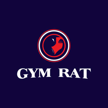 emblem logo design for the gym. simple and powerful rat vector icon illustration inspiration