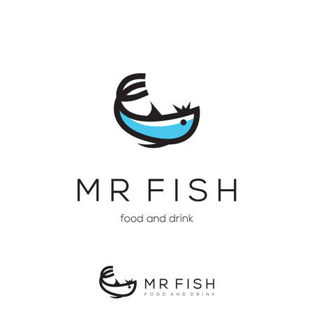 Unique fish and spork logo design.
