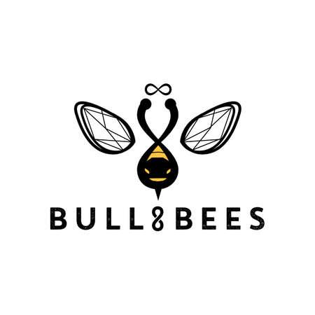 Bull and bee logo design. vector icon illustration inspiration. hidden meaning logo style Logo