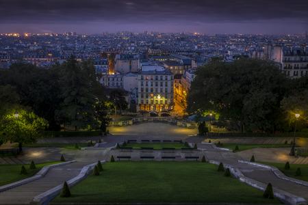 sacre: daybreak at sacre coeur paris Editorial