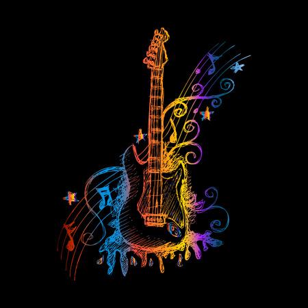 accords: Hand drawn guitar. Vector illustration.
