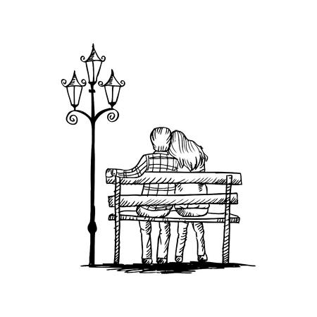 Love para na ławce, szkicowanie. Ilustracje wektorowe