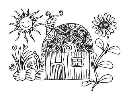 cute house: Cute house cartoon. Doodle style.