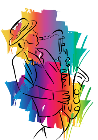 Sketch of a musician with a saxophone Illustration