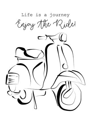 인생은 여행이고, 타기를 즐기십시오. 셔츠 디자인입니다. 스톡 콘텐츠 - 68990632