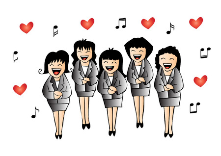 chorus: Girls chorus in action. Hand drawing illustration.