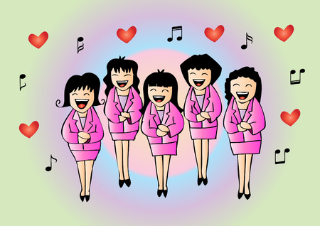 Girls chorus in action. Hand drawing illustration.