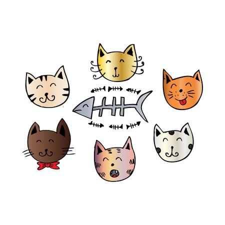 Cute Cartoon Doodle Cats Illustration