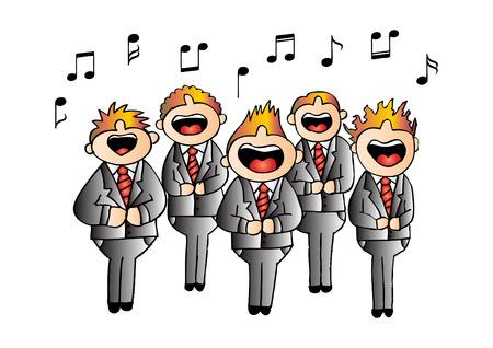Chicos coro en acción. Dibujo a mano ilustración. Foto de archivo - 66472191