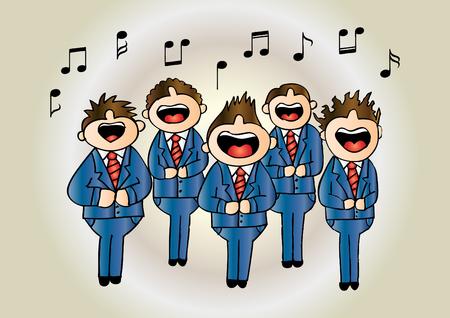 Chicos coro en acción. Dibujo a mano ilustración.
