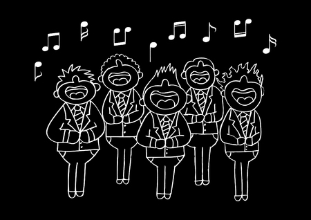 religious music: Boys chorus in action. Hand drawing illustration.