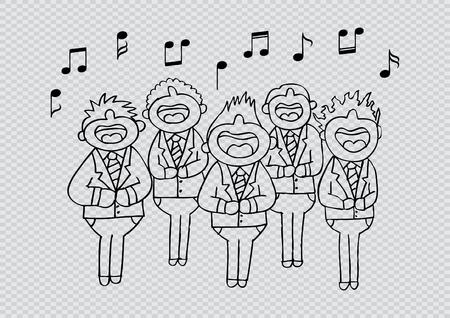 Jongens koor in actie. Hand tekening illustratie.
