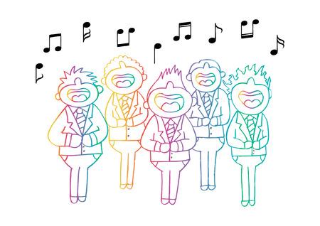 Boys chorus in action. Hand drawing illustration.
