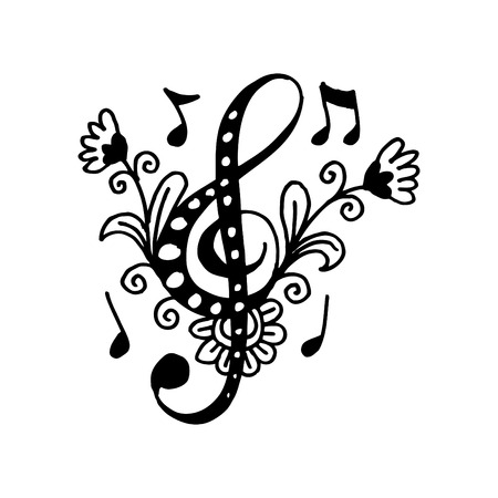 Music key doodle style. Hand drawing illustration. Vectores