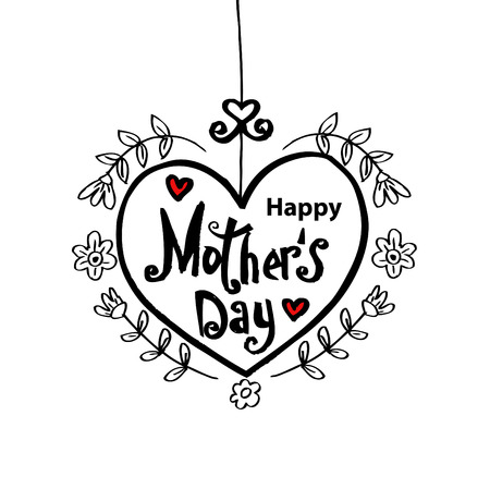 Happy mothers day lettering in heart shape decoration.