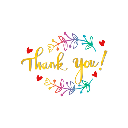 Lettering Thank you. Hand drawing illustration Vectores