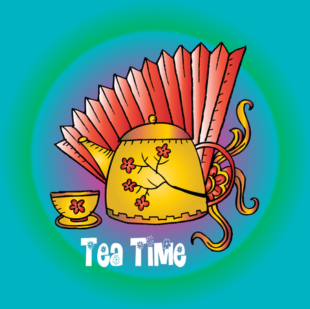 Tea time lettering with teapot and cup.