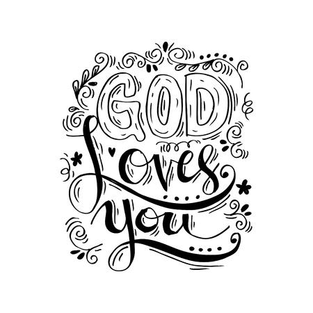 God loves you hand lettering. Illustration