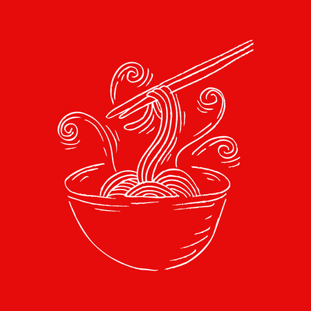 japanese cuisine: sketchy noodle in doodle style