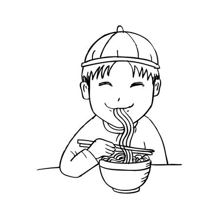 Chinese boy eat noodle Illustration