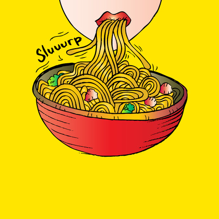 slurp: Girl slurping noodles