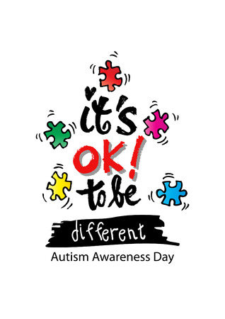 Its okay to be different. Autism Awareness. Hand lettering. Healthcare concept. Illustration