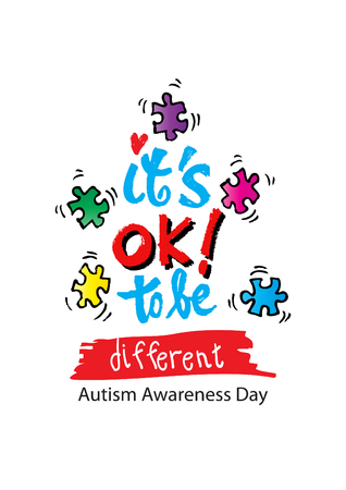 It's okay to be different. Autism Awareness. Hand lettering. Healthcare concept. Vectores