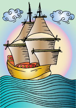 Sailing vessel. Sketchy style. Illustration