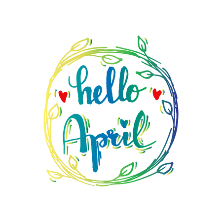 Hello april hand lettering calligraphy. Ilustrace
