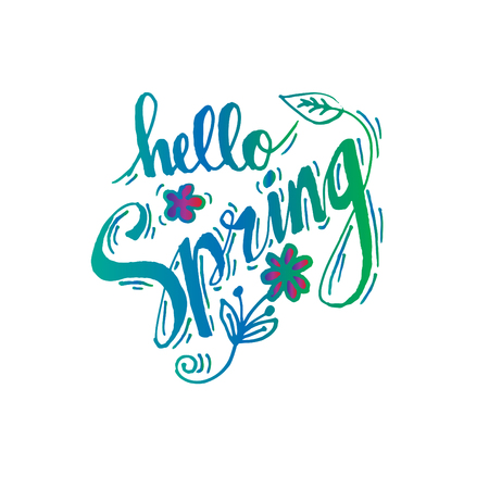 Hello spring hand lettering calligraphy.