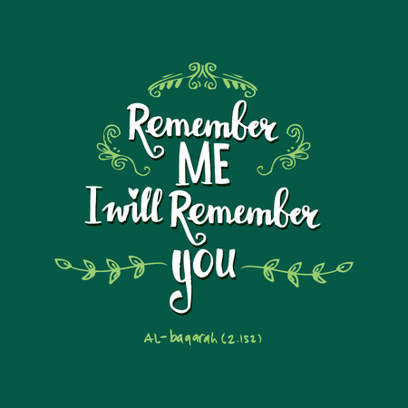 Remember me, i will remember you. Quote. Hand lettering calligraphy. Ilustração