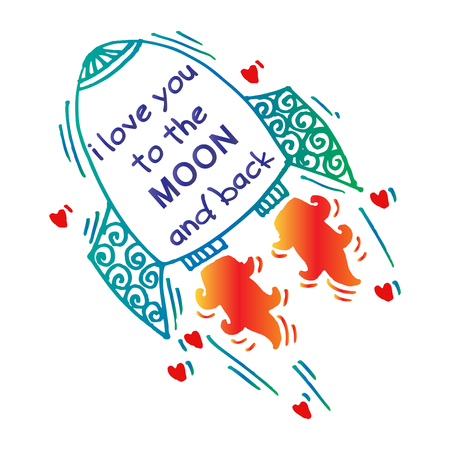 I love you to the moon and back. Hand drawn poster with a romantic quote.