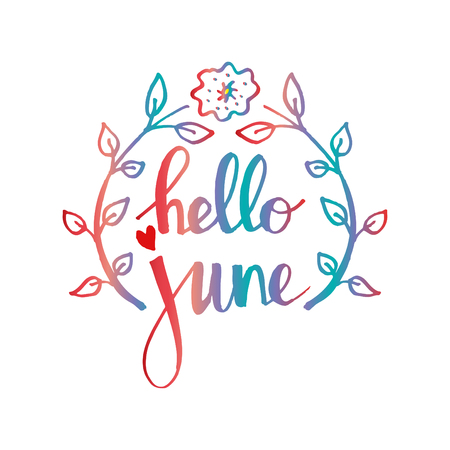 Hallo juni. Hand lettering kalligrafie. Wenskaart