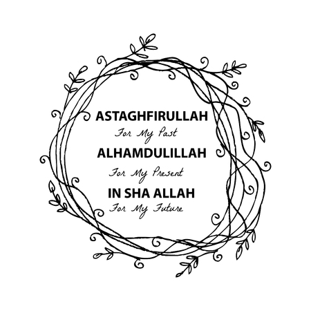 sha: Astaghfirullah for the Past, Alhamdulillah for the present, In Sha Allah for the future. Islamic quran quotes Illustration
