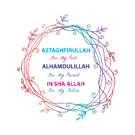 Astaghfirullah for the Past, Alhamdulillah for the present, In Sha Allah for the future. Islamic quran quotes Vectores