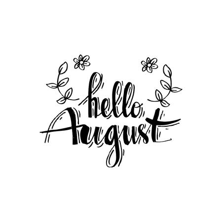 Hallo augustus hand getrokken typografie belettering zin