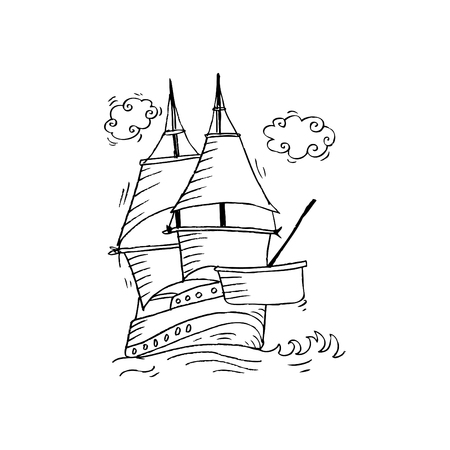 Sailing vessel. Sketchy style. Stock Photo