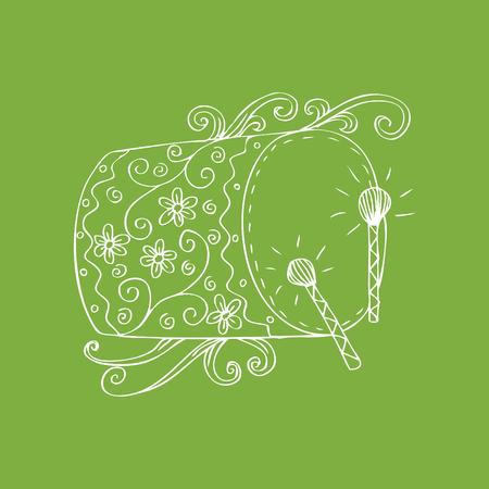 Bedug, (인도네시아 전통 드럼). 스케치 스타일. 스톡 콘텐츠 - 77426404