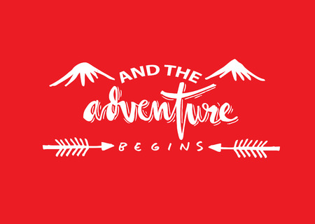 And the adventure begins quote. Hand lettering calligraphy. Ilustrace