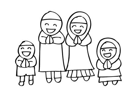 Bande dessinée de famille musulmane
