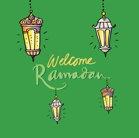 Welcome ramadan lettering with lamp. Illustration